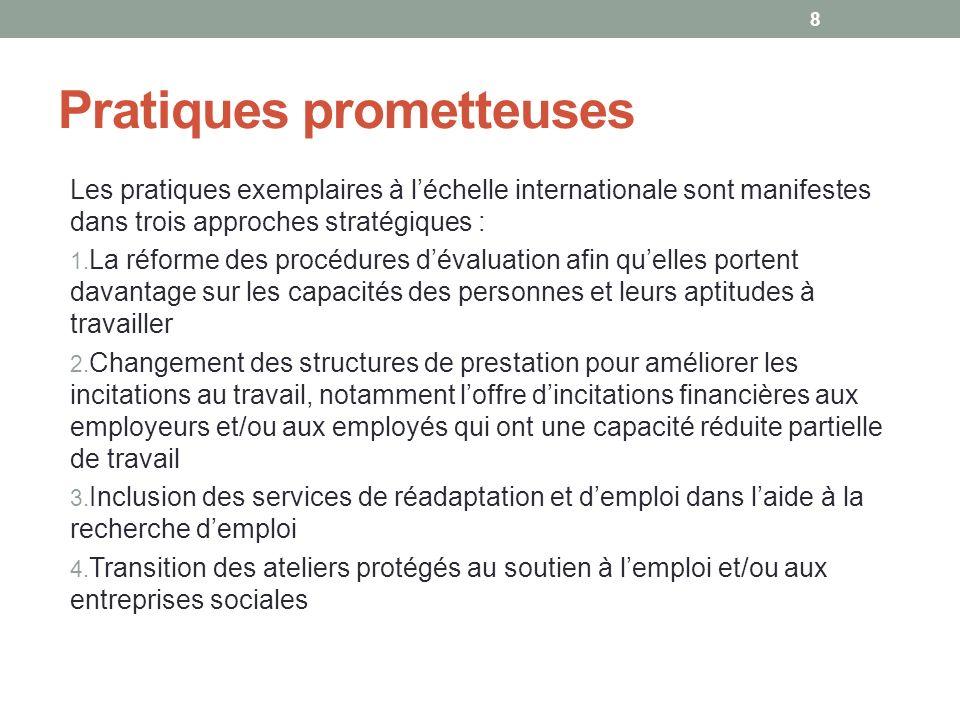 Pratiques prometteuses Les pratiques exemplaires à léchelle internationale sont manifestes dans trois approches stratégiques : 1. La réforme des procé
