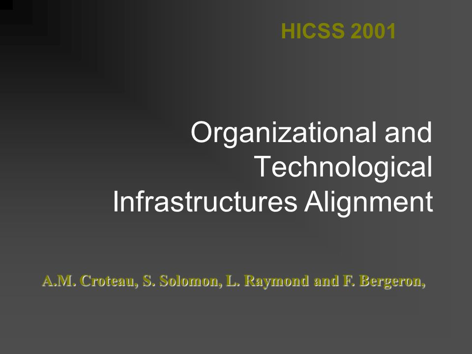 Organizational and Technological Infrastructures Alignment HICSS 2001 A.M.