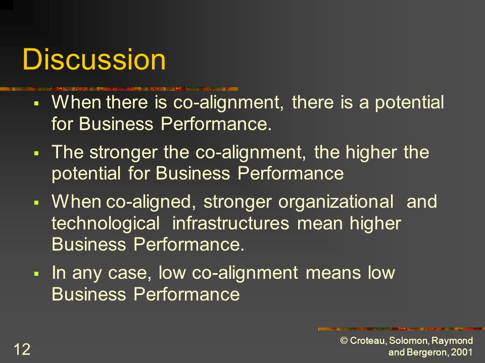 © Croteau, Solomon, Raymond and Bergeron, 2001 12 Discussion When there is co-alignment, there is a potential for Business Performance.