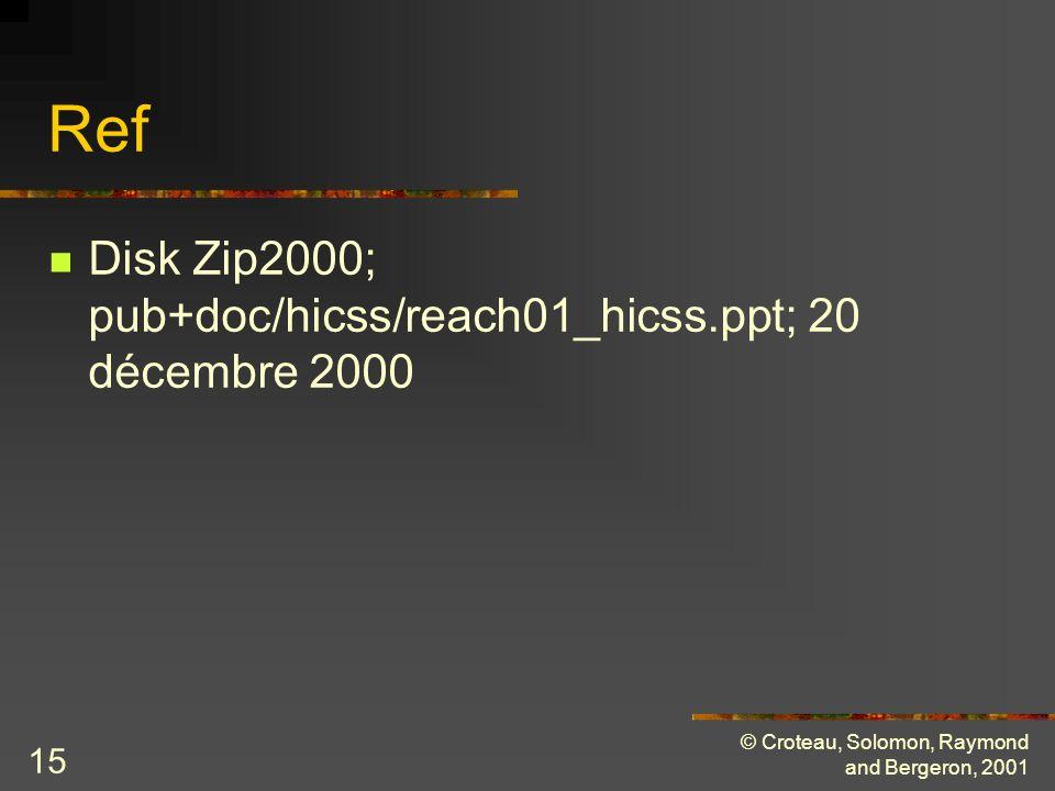 © Croteau, Solomon, Raymond and Bergeron, 2001 15 Ref Disk Zip2000; pub+doc/hicss/reach01_hicss.ppt; 20 décembre 2000