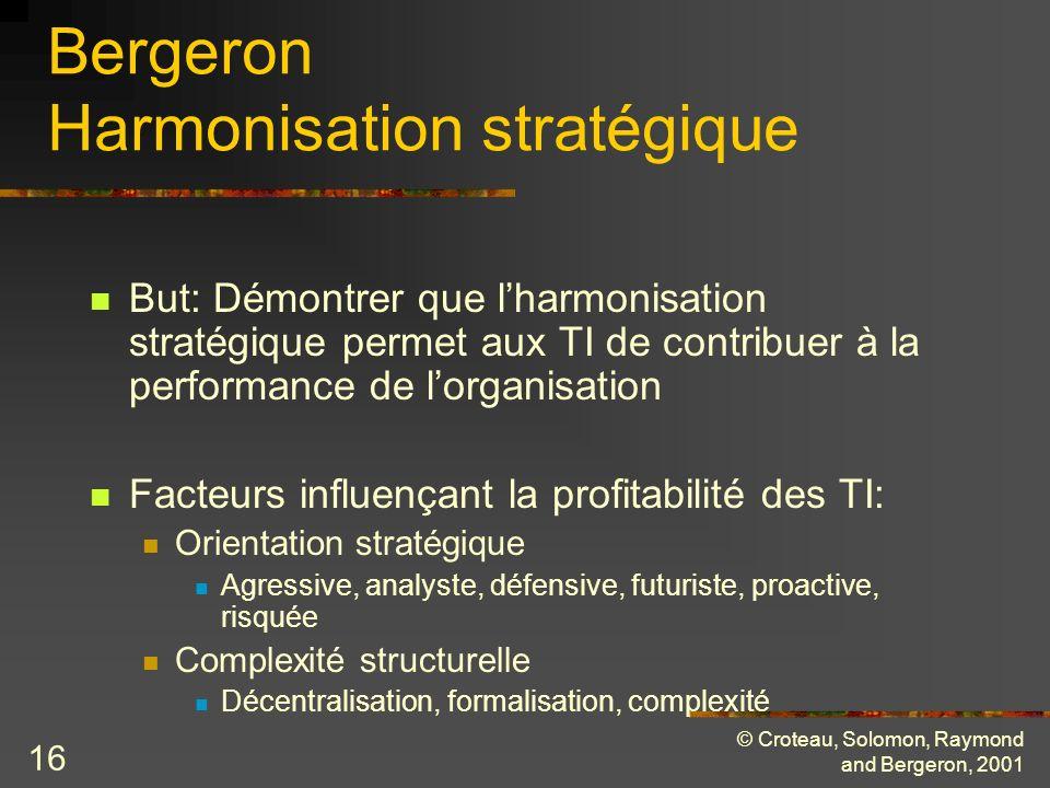 © Croteau, Solomon, Raymond and Bergeron, 2001 16 Bergeron Harmonisation stratégique But: Démontrer que lharmonisation stratégique permet aux TI de co