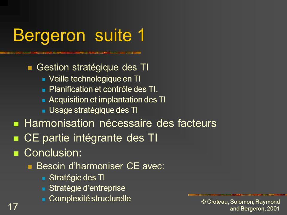 © Croteau, Solomon, Raymond and Bergeron, 2001 17 Bergeron suite 1 Gestion stratégique des TI Veille technologique en TI Planification et contrôle des