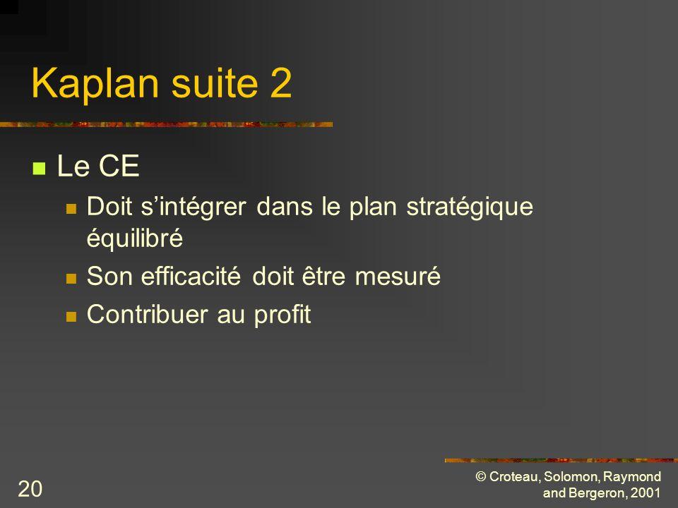 © Croteau, Solomon, Raymond and Bergeron, 2001 20 Kaplan suite 2 Le CE Doit sintégrer dans le plan stratégique équilibré Son efficacité doit être mesuré Contribuer au profit