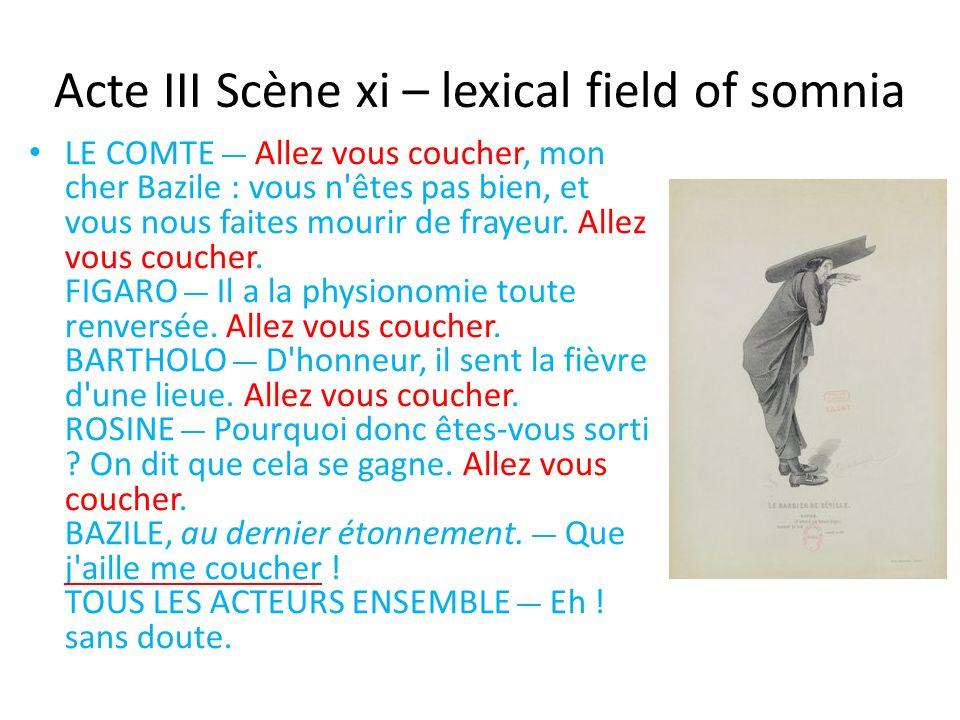 Acte III Scène xi – lexical field of somnia LE COMTE __ Allez vous coucher, mon cher Bazile : vous n êtes pas bien, et vous nous faites mourir de frayeur.