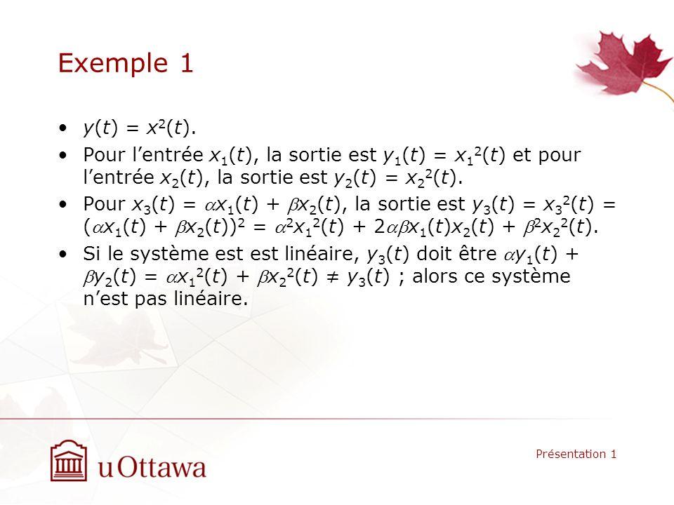 Exemple 1 y(t) = x 2 (t). Pour lentrée x 1 (t), la sortie est y 1 (t) = x 1 2 (t) et pour lentrée x 2 (t), la sortie est y 2 (t) = x 2 2 (t). Pour x 3