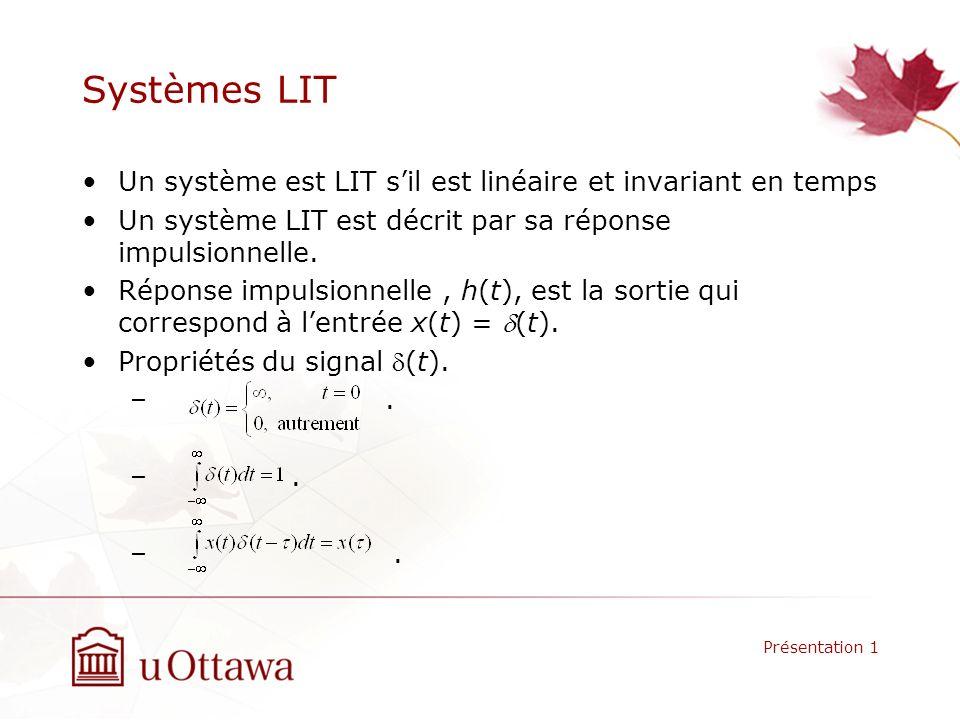 Systèmes LIT Un système est LIT sil est linéaire et invariant en temps Un système LIT est décrit par sa réponse impulsionnelle.
