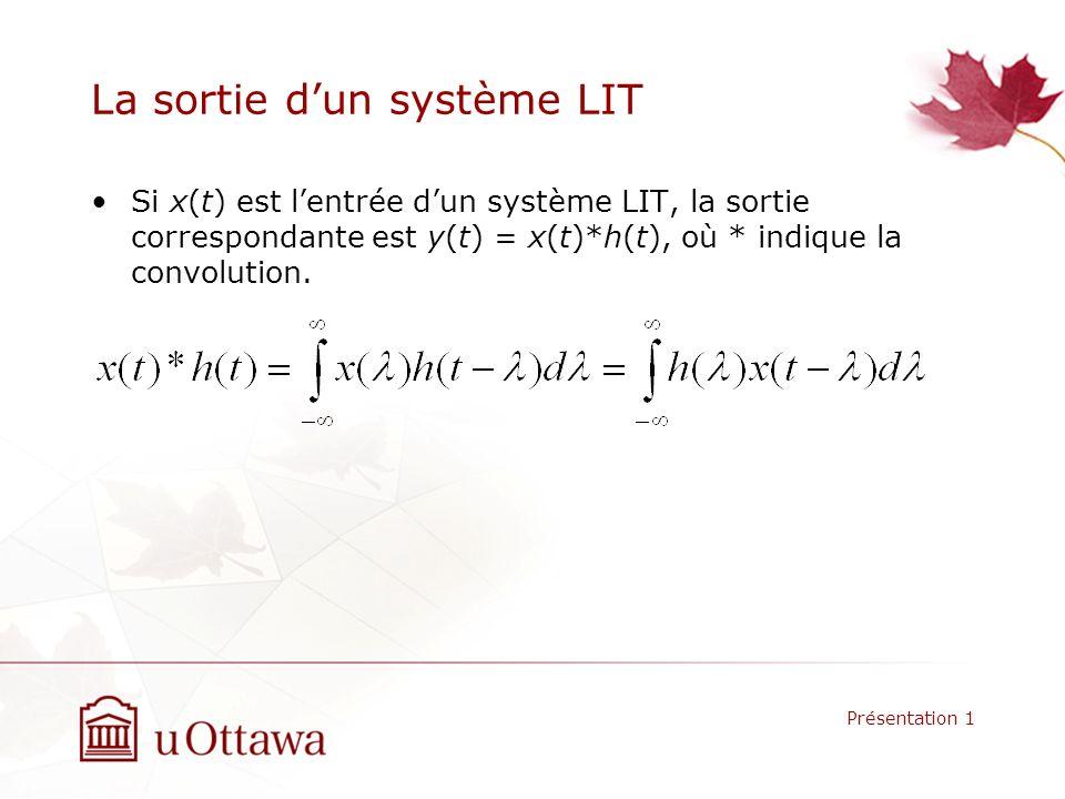 La sortie dun système LIT Si x(t) est lentrée dun système LIT, la sortie correspondante est y(t) = x(t)*h(t), où * indique la convolution. Présentatio