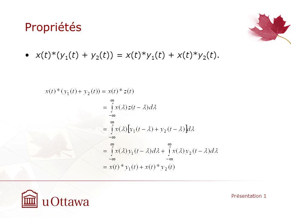 Propriétés x(t)*(y 1 (t) + y 2 (t)) = x(t)*y 1 (t) + x(t)*y 2 (t). Présentation 1