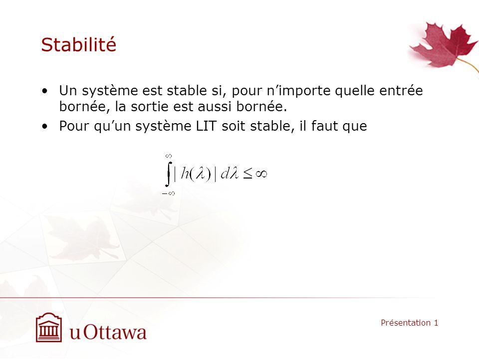 Stabilité Un système est stable si, pour nimporte quelle entrée bornée, la sortie est aussi bornée. Pour quun système LIT soit stable, il faut que Pré