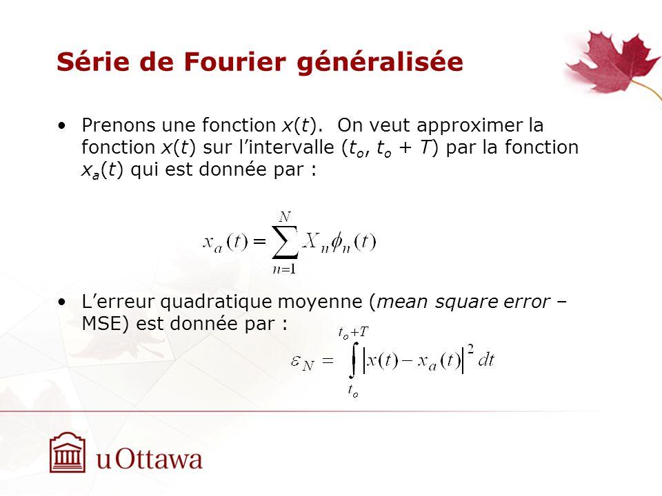 Série de Fourier généralisée Prenons une fonction x(t). On veut approximer la fonction x(t) sur lintervalle (t o, t o + T) par la fonction x a (t) qui