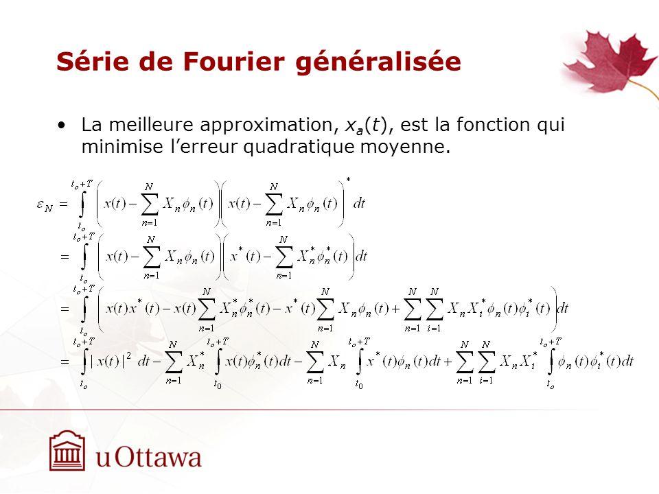 Série de Fourier généralisée La meilleure approximation, x a (t), est la fonction qui minimise lerreur quadratique moyenne.