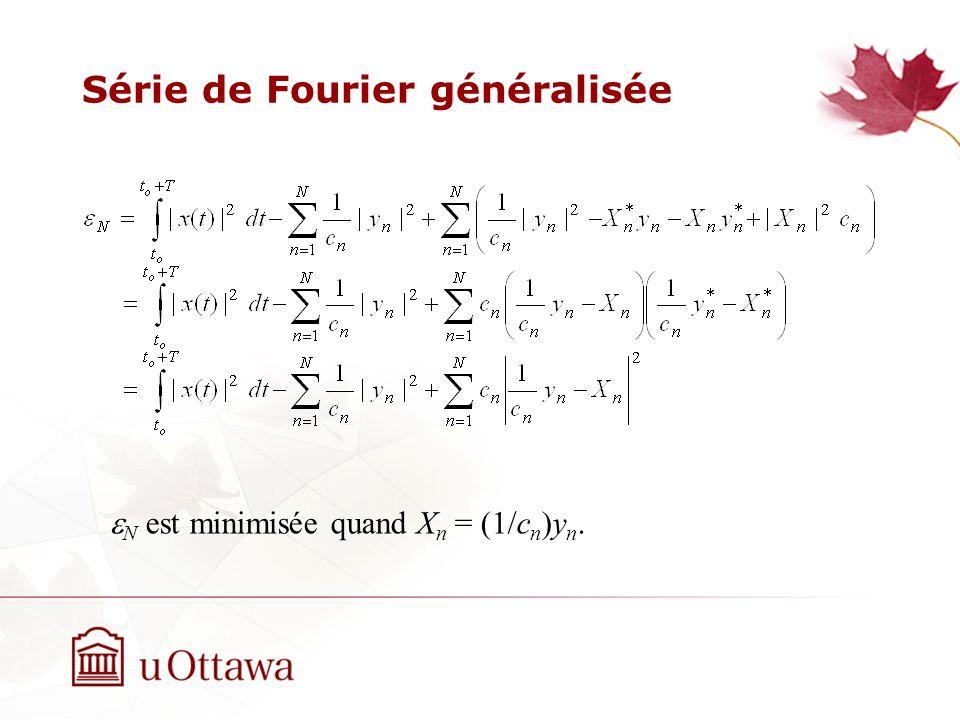 Série de Fourier généralisée N est minimisée quand X n = (1/c n )y n.