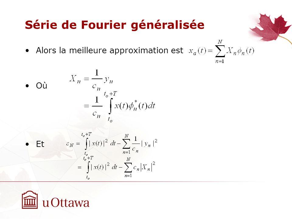 Série de Fourier généralisée Alors la meilleure approximation est Où Et