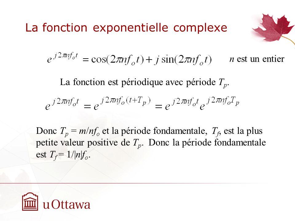 La fonction exponentielle complexe La fonction est périodique avec période T p. Donc T p = m/nf o et la période fondamentale, T f, est la plus petite