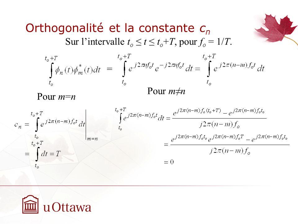 Orthogonalité et la constante c n = Pour m=n Pour mn Sur lintervalle t o t t o +T, pour f o = 1/T.