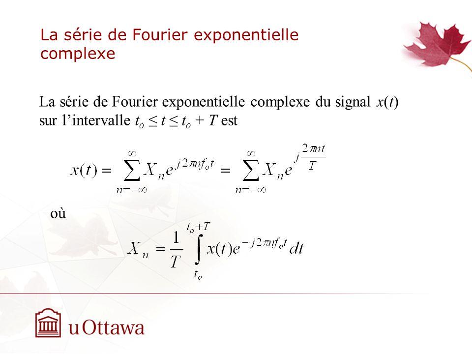 La série de Fourier exponentielle complexe La série de Fourier exponentielle complexe du signal x(t) sur lintervalle t o t t o + T est où