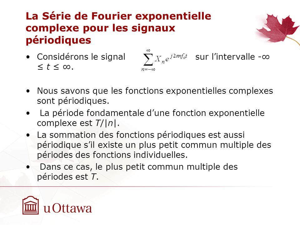 La Série de Fourier exponentielle complexe pour les signaux périodiques Considérons le signal sur lintervalle - t. Nous savons que les fonctions expon