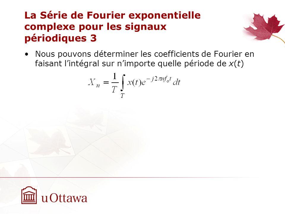 La Série de Fourier exponentielle complexe pour les signaux périodiques 3 Nous pouvons déterminer les coefficients de Fourier en faisant lintégral sur nimporte quelle période de x(t)