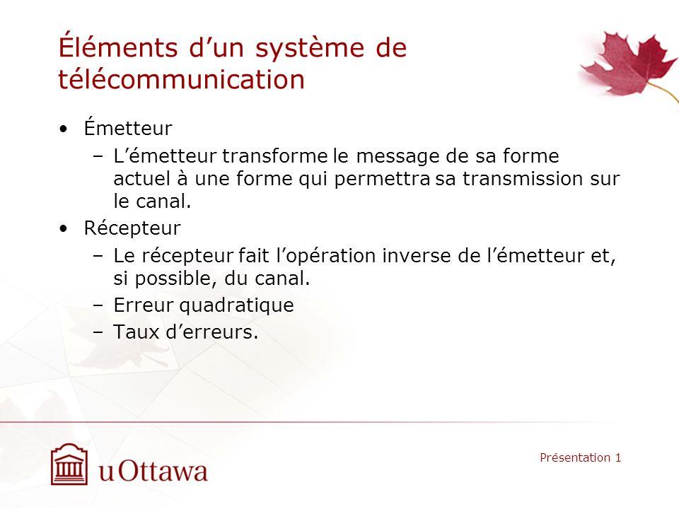 Éléments dun système de télécommunication Émetteur –Lémetteur transforme le message de sa forme actuel à une forme qui permettra sa transmission sur le canal.