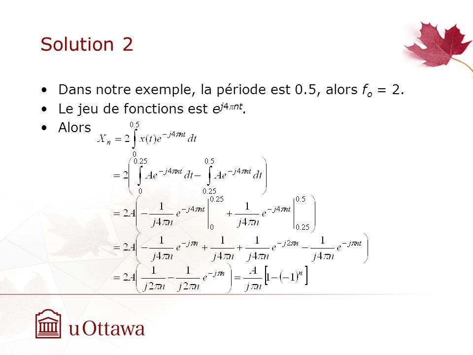Solution 2 Dans notre exemple, la période est 0.5, alors f o = 2. Le jeu de fonctions est e j4nt. Alors