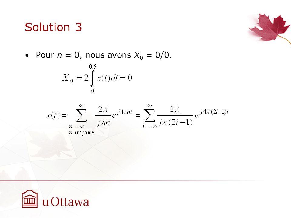 Solution 3 Pour n = 0, nous avons X 0 = 0/0.