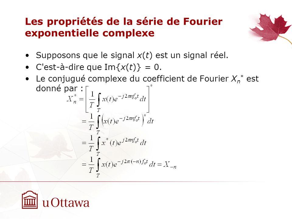 Les propriétés de la série de Fourier exponentielle complexe Supposons que le signal x(t) est un signal réel. C'est-à-dire que Im{x(t)} = 0. Le conjug