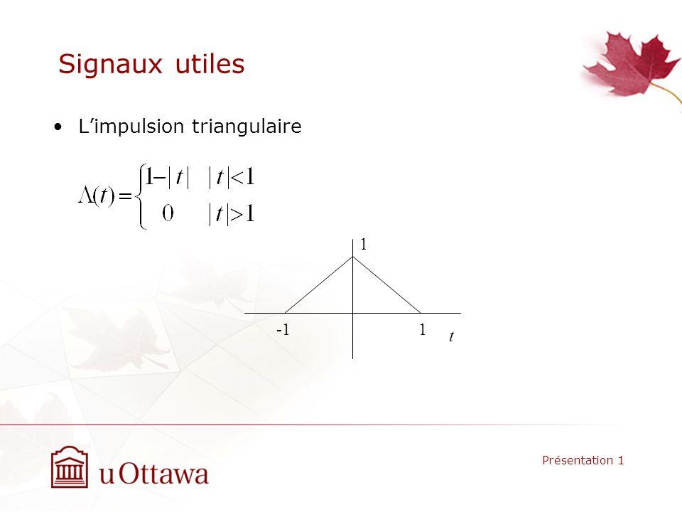 Signaux utiles Limpulsion triangulaire Présentation 1 t -1 1 1