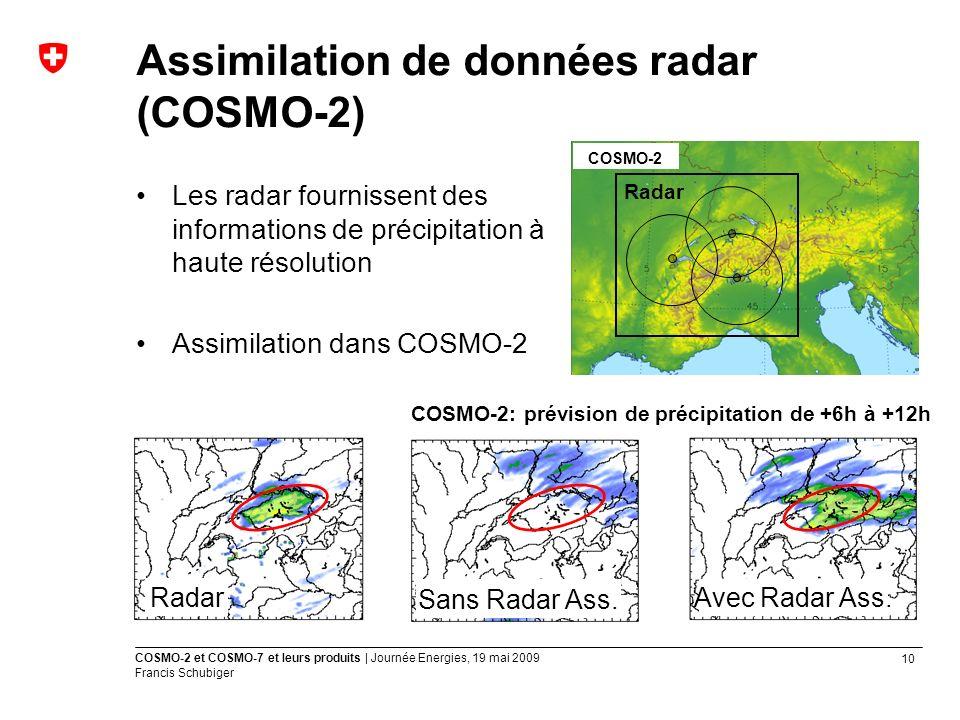 10 COSMO-2 et COSMO-7 et leurs produits | Journée Energies, 19 mai 2009 Francis Schubiger Les radar fournissent des informations de précipitation à haute résolution Assimilation dans COSMO-2 Assimilation de données radar (COSMO-2) COSMO-2 Radar Sans Radar Ass.