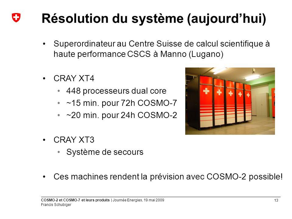 13 COSMO-2 et COSMO-7 et leurs produits | Journée Energies, 19 mai 2009 Francis Schubiger Superordinateur au Centre Suisse de calcul scientifique à haute performance CSCS à Manno (Lugano) CRAY XT4 448 processeurs dual core ~15 min.