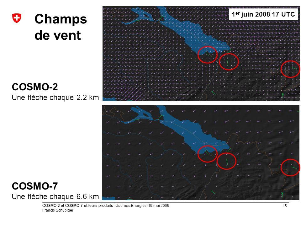 15 COSMO-2 et COSMO-7 et leurs produits | Journée Energies, 19 mai 2009 Francis Schubiger Champs de vent COSMO-2 Une flèche chaque 2.2 km COSMO-7 Une flèche chaque 6.6 km 1 er juin 2008 17 UTC