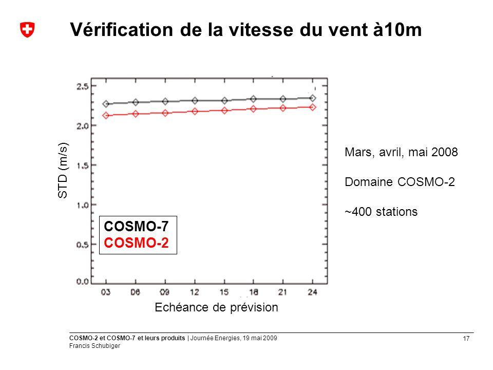 17 COSMO-2 et COSMO-7 et leurs produits | Journée Energies, 19 mai 2009 Francis Schubiger Vérification de la vitesse du vent à10m Mars, avril, mai 2008 Domaine COSMO-2 ~400 stations Echéance de prévision STD (m/s) COSMO-7 COSMO-2