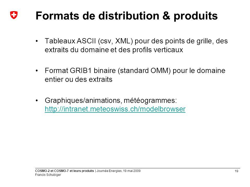 19 COSMO-2 et COSMO-7 et leurs produits | Journée Energies, 19 mai 2009 Francis Schubiger Formats de distribution & produits Tableaux ASCII (csv, XML) pour des points de grille, des extraits du domaine et des profils verticaux Format GRIB1 binaire (standard OMM) pour le domaine entier ou des extraits Graphiques/animations, météogrammes: http://intranet.meteoswiss.ch/modelbrowser http://intranet.meteoswiss.ch/modelbrowser