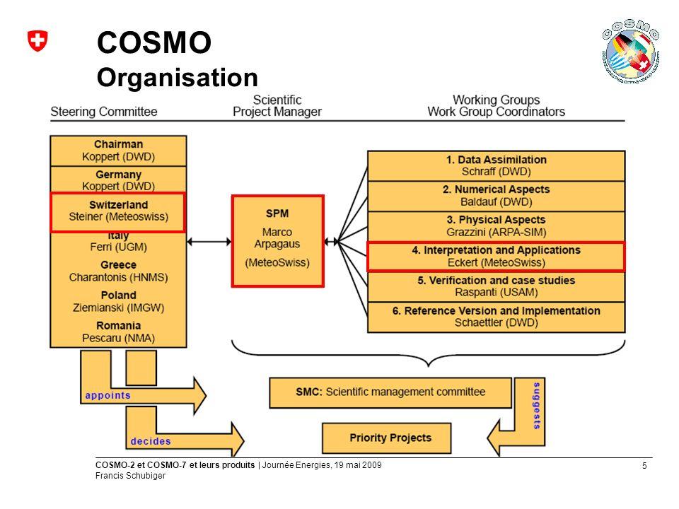 5 COSMO-2 et COSMO-7 et leurs produits | Journée Energies, 19 mai 2009 Francis Schubiger COSMO Organisation