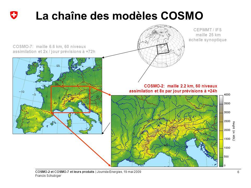 6 COSMO-2 et COSMO-7 et leurs produits | Journée Energies, 19 mai 2009 Francis Schubiger CEPMMT / IFS maille 25 km échelle synoptique COSMO-7: maille 6.6 km, 60 niveaux assimilation et 2x / jour prévisions à +72h COSMO-2: maille 2.2 km, 60 niveaux assimilation et 8x par jour prévisions à +24h La chaîne des modèles COSMO