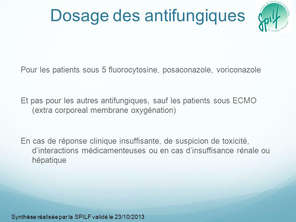 Dosage des antifungiques Pour les patients sous 5 fluorocytosine, posaconazole, voriconazole Et pas pour les autres antifungiques, sauf les patients s