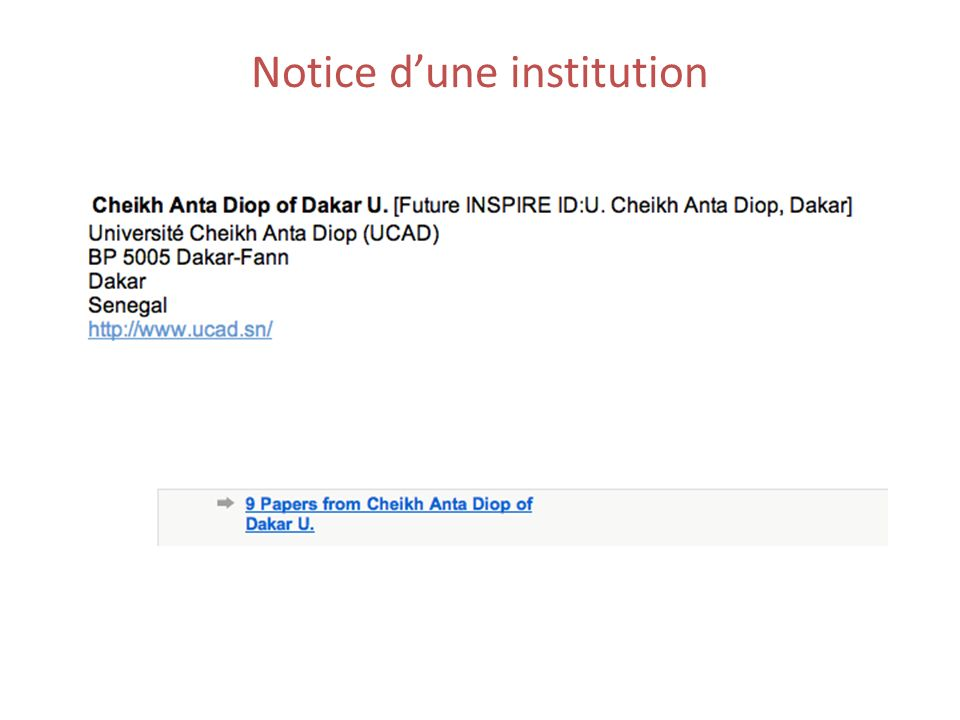 Notice dune institution