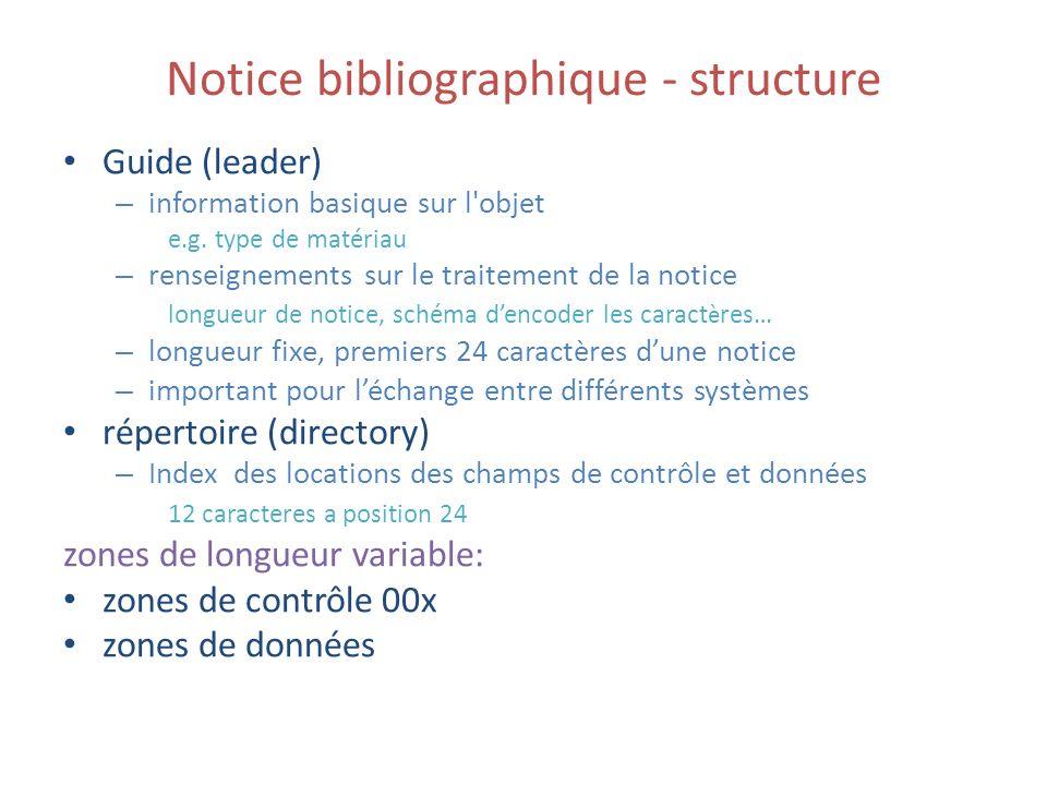 Notice bibliographique - structure Guide (leader) – information basique sur l objet e.g.