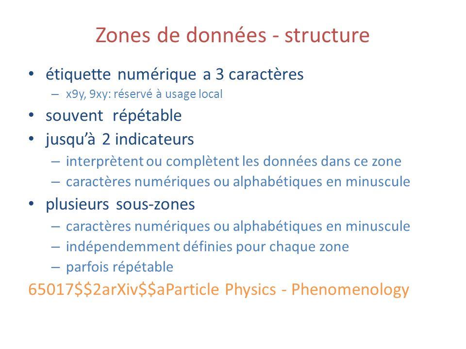 Zones de données - structure étiquette numérique a 3 caractères – x9y, 9xy: réservé à usage local souvent répétable jusquà 2 indicateurs – interprètent ou complètent les données dans ce zone – caractères numériques ou alphabétiques en minuscule plusieurs sous-zones – caractères numériques ou alphabétiques en minuscule – indépendemment définies pour chaque zone – parfois répétable 65017$$2arXiv$$aParticle Physics - Phenomenology