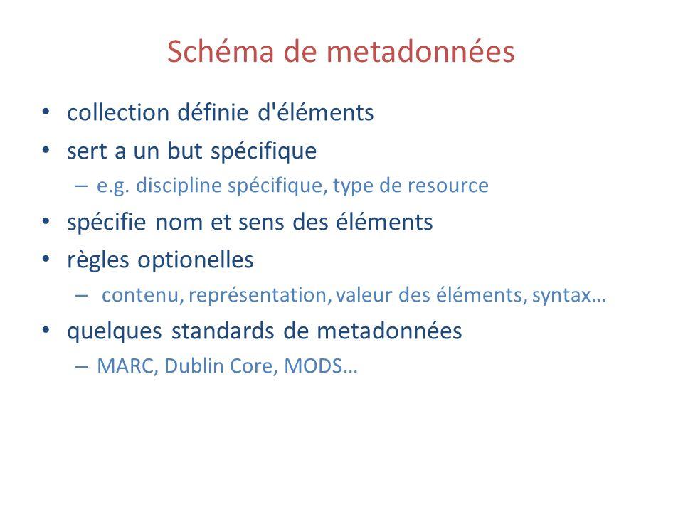 Schéma de metadonnées collection définie d éléments sert a un but spécifique – e.g.