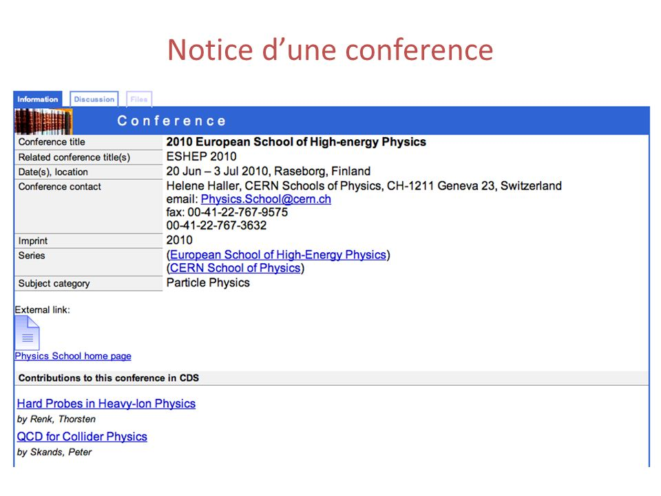 Notice dune conference