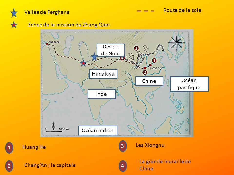 Océan indien Océan pacifique Inde Chine Himalaya Désert de Gobi Vallée de Ferghana Echec de la mission de Zhang Qian 1 4 3 2 Huang He ChangAn ; la capitale Les Xiongnu La grande muraille de Chine Route de la soie