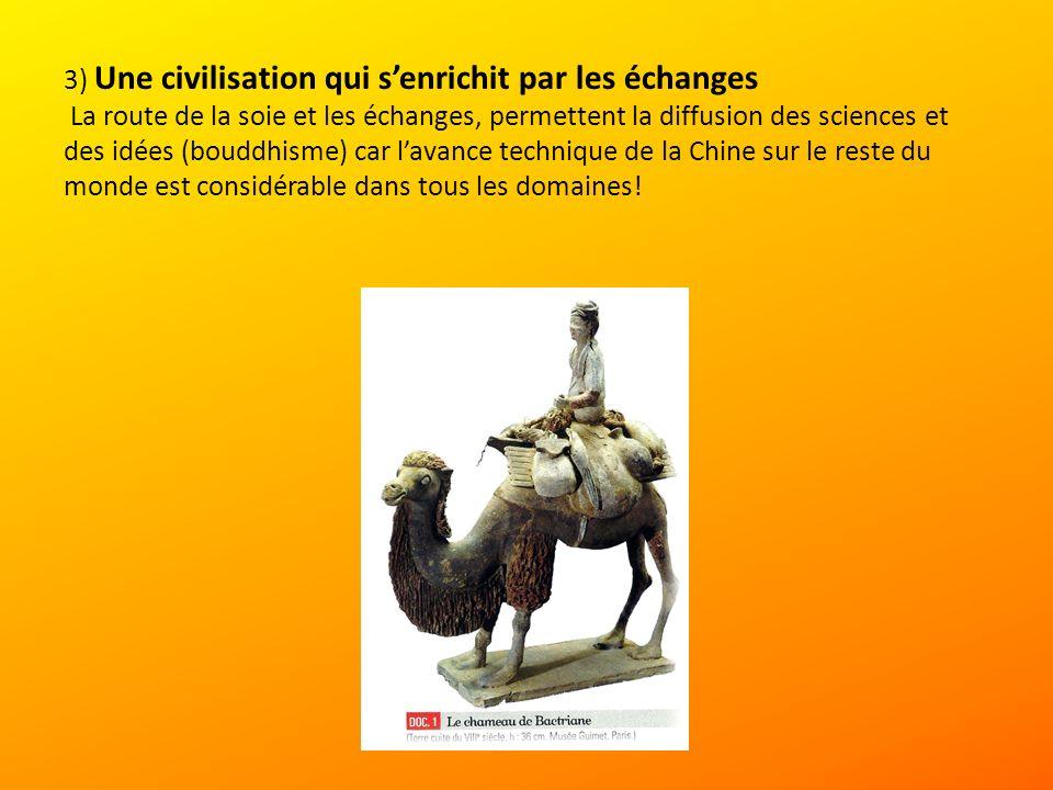3) Une civilisation qui senrichit par les échanges La route de la soie et les échanges, permettent la diffusion des sciences et des idées (bouddhisme) car lavance technique de la Chine sur le reste du monde est considérable dans tous les domaines!