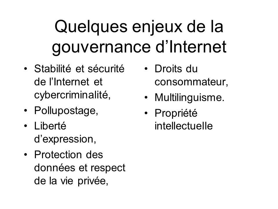 Quelques enjeux de la gouvernance dInternet Stabilité et sécurité de lInternet et cybercriminalité, Pollupostage, Liberté dexpression, Protection des données et respect de la vie privée, Droits du consommateur, Multilinguisme.