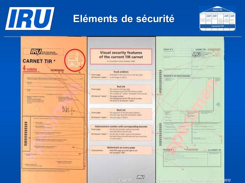 Eléments de sécurité Page 30 (c) International Road Transport Union (IRU) 2012