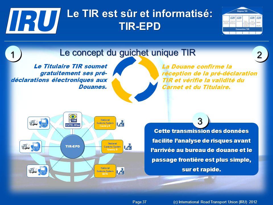 Le TIR est sûr et informatisé: TIR-EPD Le Titulaire TIR soumet gratuitement ses pré- déclarations électroniques aux Douanes.