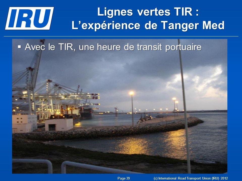 Lignes vertes TIR : Lexpérience de Tanger Med Avec le TIR, une heure de transit portuaire Avec le TIR, une heure de transit portuaire Page 39 (c) International Road Transport Union (IRU) 2012