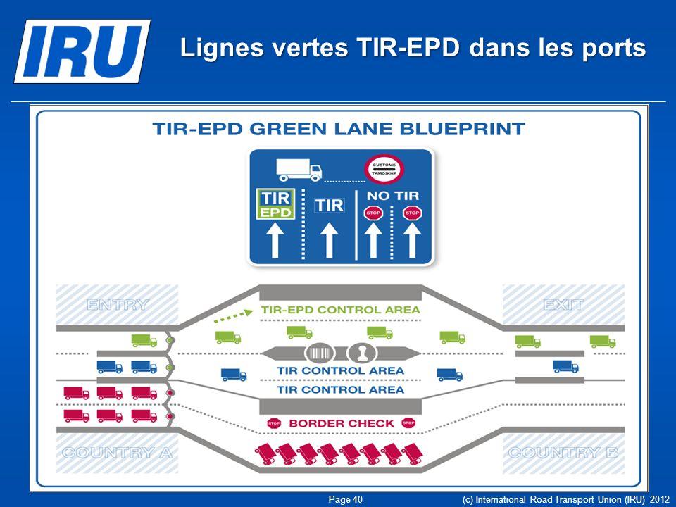 Lignes vertes TIR-EPD dans les ports Page 40 (c) International Road Transport Union (IRU) 2012