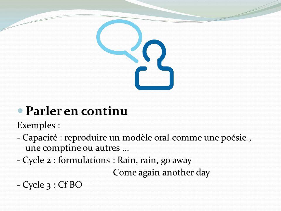 Parler en continu Exemples : - Capacité : reproduire un modèle oral comme une poésie, une comptine ou autres … - Cycle 2 : formulations : Rain, rain,