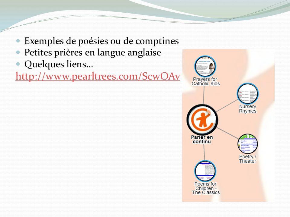 Exemples de poésies ou de comptines Petites prières en langue anglaise Quelques liens… http://www.pearltrees.com/ScwOAv