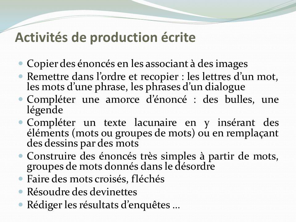 Activités de production écrite Copier des énoncés en les associant à des images Remettre dans lordre et recopier : les lettres dun mot, les mots dune
